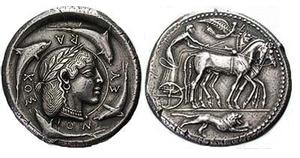 Portrait of queen Demarete on coin