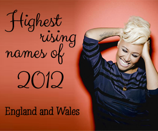 Fastest rising names England and Wales 2012