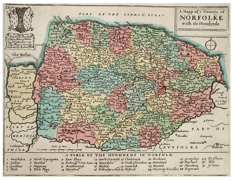 Norfolk Map - 17th century