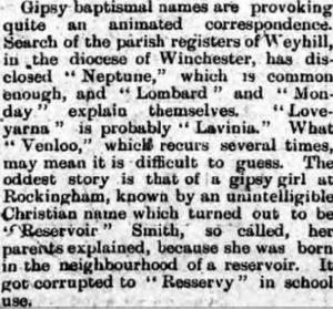 Romany Names 1900