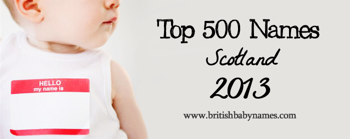 Top 500 Names Scotland 2013