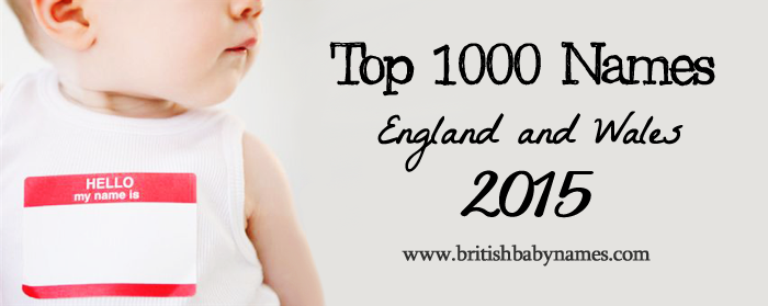 Top 1000 Names England and Wales 2015