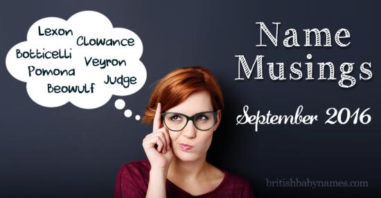 Name Musings September 2016