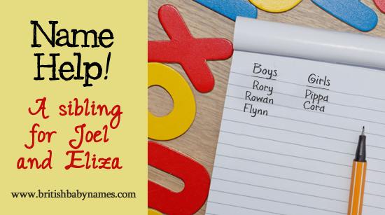 Name Help - Sibling for Joel and Eliza
