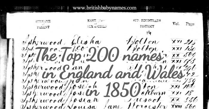 Top 200 in England and Wales 1850