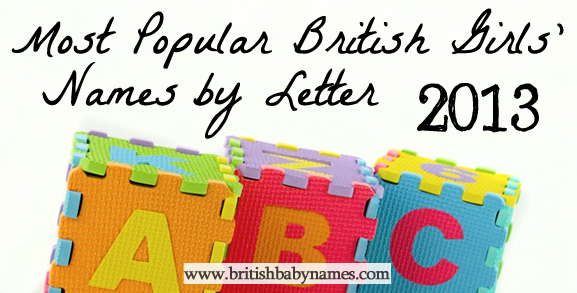 Most Popular British Girls' Names by Letter 2013