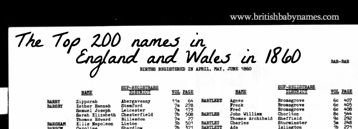 The Top 200 Names In England And Wales 1860