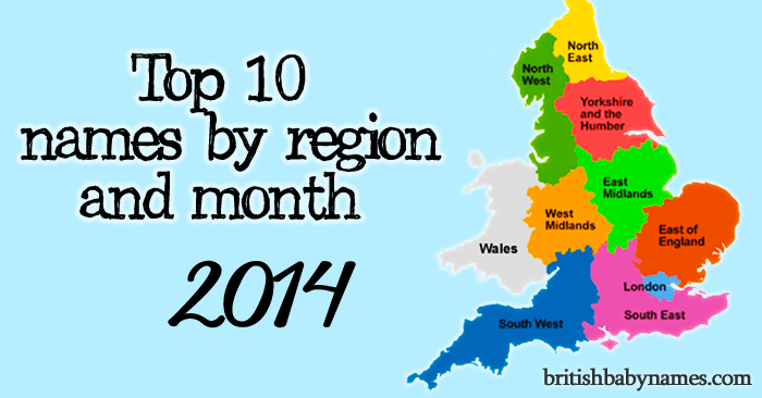Top 10 name by region 2014