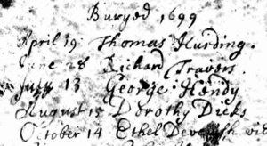 Ethel burial 1699