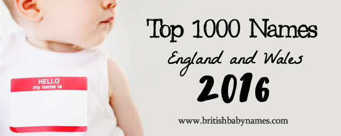 Top 1000 Names in England and Wales, 2016 - British Baby Names