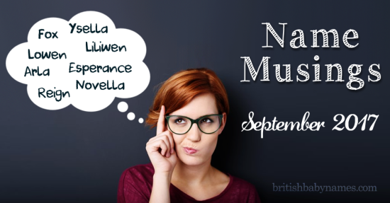 Name Musings September 2017