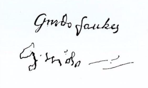 Guy Fawkes signature before and after torture