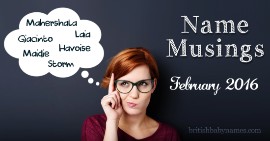 Name Musings February 2017