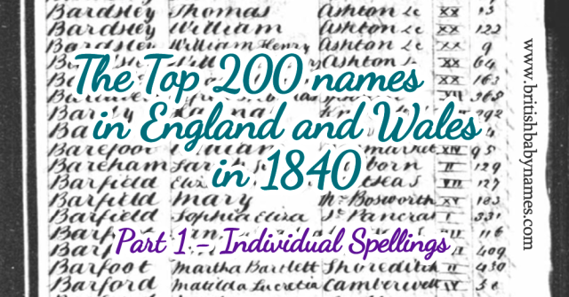 Top 200 in England and Wales 1840 - Part 1