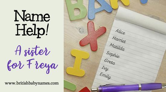 Name Help - Sister for Freya