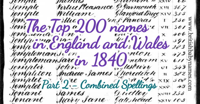 Top 200 in England and Wales 1840 Part 2