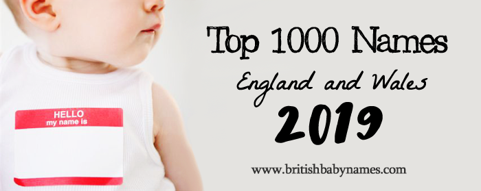 Top 1000 Names England and Wales 2019